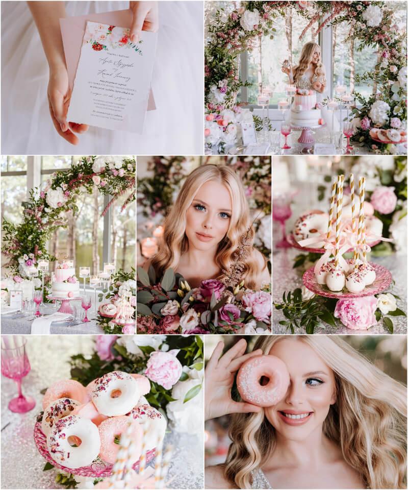 Kwiatami szyte dekoracje weselne